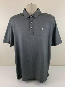 Travis Mathew Dark Grey Polo Shirt Men Sz L Large Pima Cotton Polyester Golf EUC