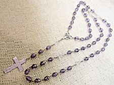 Glass Necklace Vtg Designer Jewelry Vg Silver Cloud Ster Cross Angel Rosary Art
