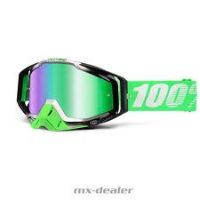 100% RACECRAFT ESPEJO Motocross MX Cruz Gafas Verde Orgánico BMX