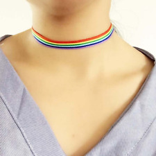 Rainbow Choker Necklace Gay Pride LGBT Clavicle Chain Ribbon Simple Necklace