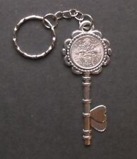 1958 60th birthday lucky Sixpence key Charm keyring free card gift box present