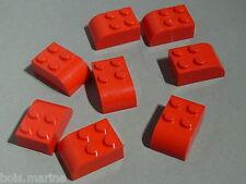 Lego 8 briques arrondies rouges  set 10236 10020 4216 / 8 red brick curved