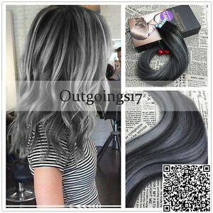 Brazilian Balayage Ombre Silver Grey Remy PU Tape in Human Hair Extensions