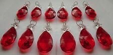 12 Lampadario tagliare il Vetro Cristalli Gocce Rosso vintage perline FENG-SHUI