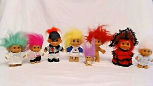VINTAGE LOT OF 8 TROLL DOLLS, ALL RUSS & EXCELLENT CONDITION