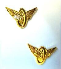 Highway Patrol Motorcycle Pin Collar Device Wheel Wings Police Gold Set of 2