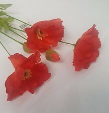 ARTIFICIAL FLOWERS RED POPPY STEM 3 HEADS AND 2 BUDS PER STEM 72CM LONG