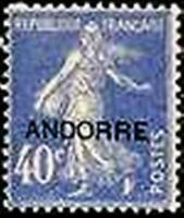 "ANDORRE FRANCAIS N° 11 "" SEMEUSE SUR FOND PLEIN 40c OUTREMER "" NEUF xx TTB"