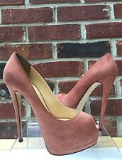 Giuseppe Zanotti SHARON Dusted Rose Pink Mauve Peep Toe Pump Heels 38 7 RARE!