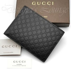 NIB GUCCI Micro Guccissima GG Men's Bifold Wallet Dark Brown Leather Authentic