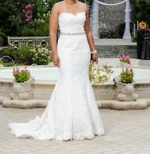 Monique Lhuillier embroidered crystal bead lace a-line strapless Wedding Dress