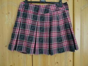 Tartan Skirt Check Plaid Per Una Mini Pleated Heart Print Wool Blend Size 14