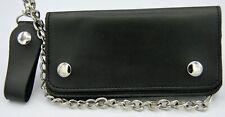 """Men's Leather Chain Wallet Black Bi-Fold 7"""" Biker Trucker 2554"""
