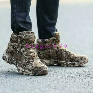 Mens Military Tactical Desert Camo High Top Climbing Shoes Sneakers casual #2