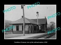 OLD LARGE HISTORIC PHOTO OF NORTHBORO VERMONT THE RAILROAD STATION c1920