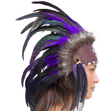 Mini Feather Headdress- Native American Inspired -ADJUSTABLE- Purple with beads