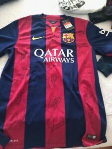 NWT NEYMAR JR Autographed FC Barcelona Home Shirt Jersey ICONS!! YLASIN