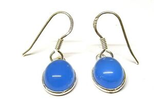 Handmade 925 Sterling Silver Blue Chalcedony Drop Earrings + Gift Bag 27 x 8mm