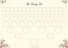 Family Tree Chart - 6 Generation Pedigree 2 in a pack size A3