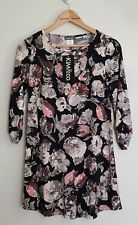 Kim & Co Painters Floral Brazil Knit 3/4 Ruched Sleeves Swing Tunic, XS, Black