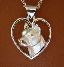 Sterling Silver Pit Bull Terrier AM Staff Head Study On A Free Form Heart