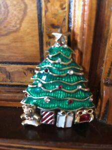 Rare! Christmas Tree Brooch Signed Monet Spilla Albero Natale Vintage