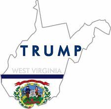 (2) TRUMP STICKERS WEST VIRGINIA STATE POLITICAL BUMPER WINDOW DECAL