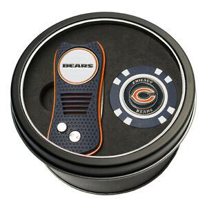 NFL Chicago Bears Golf Poker Chip + Switchblade Divot Tool Tin Gift Set