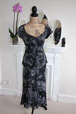BNWT Gina Bacconi Negro Blusa Falda Twinset Suit 12 Con Cuentas Boda Floral -60%