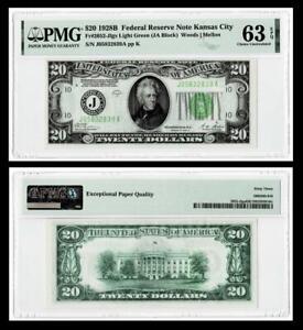 FR.2052-J LGS LIGHT GREEN 1928-B $20 DOLLAR  FEDERAL RESERVE NOTE~PMG 63EPQ