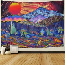 Psychedelic Trippy Mushroom Tapestry Colorful Mountain Wall Hanging Blanket Deco