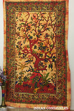 Floral Life On Tree Birds Nature Bed-skirt Wall Hanging Twin Tapestry bedding