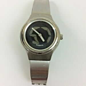 Fossil Big Tic Watch Silver Tone JR-7873 New Battery 6.25 Inch