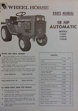 Wheel Horse D-180 18 HP Automatic Lawn Garden Tractor Parts Manual 1-0601 0620