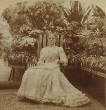Underwood Stereoview Mrs. McKinley in Conservatory, Executive Mansion, D.C. 1900
