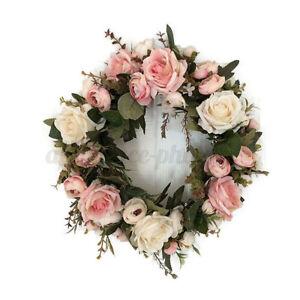 Artificial Peony Wreath Flower Garland 35cm Door Wreath Spring Round Wreath UK