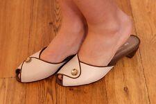 Vintage 60s estilo Peeptoe mulas por Kor leesses Crema Y Marrón Zapatos De Verano