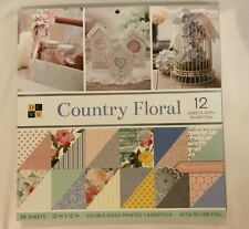 "DCWV Double-Sided Cardstock Stack 12""X12"" Country Floral, 18 Designs/2 Each"