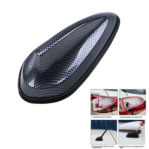 1X Carbon Fiber Surface Car Roof Shark Fin Decor Antenna Radio FM Signal Aerials