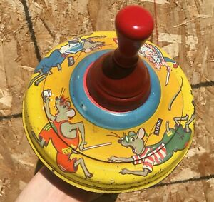 VINTAGE 1960's 3 BLIND MICE METAL PUMP TOP SPINNING TOP TOY (MADE IN CANADA)
