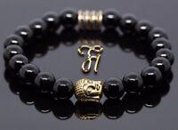 Onyx Armband Bracelet Perlenarmband Buddhakopf gold 8mm