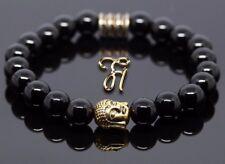 Onyx Bracelet Bracelet Bracelet Bracelet de Perles Tête de Bouddha or 8mm