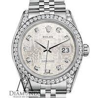 Ladies Rolex Datejust 26mm Steel Silver Jubilee Metal Diamond Dial Watch