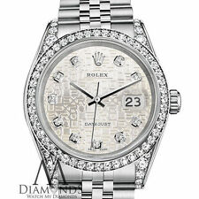 Unisex Rolex Datejust 36mm Silver Color Jubilee Metal Diamond Dial SS Watch