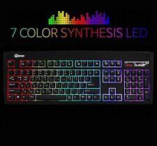 QSENN SEM-DT35 LED Stella 7 Color & 8 Mode LED Synthesis Gaming Keyboard EN/KR