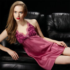 Pure Silk Womens Sexy Lace Slips Halter Top Chemise US 2 6 10 SSH1308