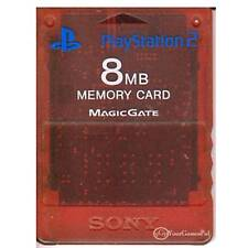 PLAYSTATION 2 MEMORY CARD BY SONY 8 (MB) - RED CLEAR 100% ORIGINAL PS2
