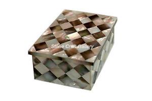 "4"" x 3"" Marble Jewelry Box Semi Precious Stones Handmade Pietradura Work"