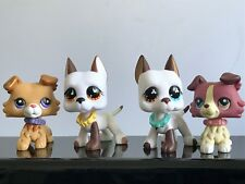 4x Littlest Pet Shop LPS Toys Figure Pink Collie Great Dane Dog#1262 +Collars
