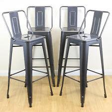 More details for set of 4 gunmetal stools & back rests industrial/metal breakfast bar/cafe/bistro